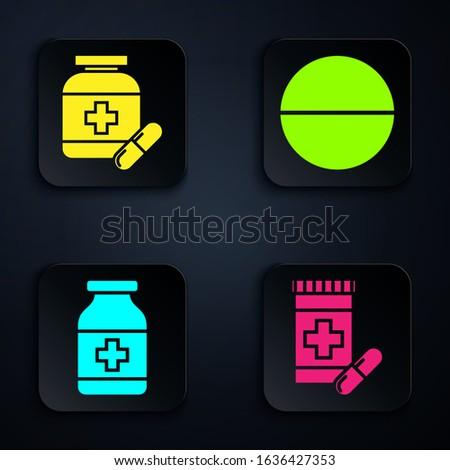 Set Medicine bottle and pills, Medicine bottle and pills, Medicine bottle and Medicine pill or tablet. Black square button. Vector