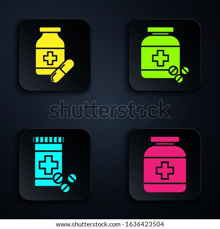 Set Medicine bottle, Medicine bottle and pills, Medicine bottle and pills and Medicine bottle and pills. Black square button. Vector
