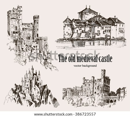 Set medieval castles Isolated on white background. Graphic drawing.