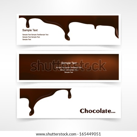 set Melted chocolate dripping set on white background vector