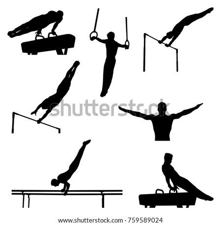 set men athletes gymnasts in