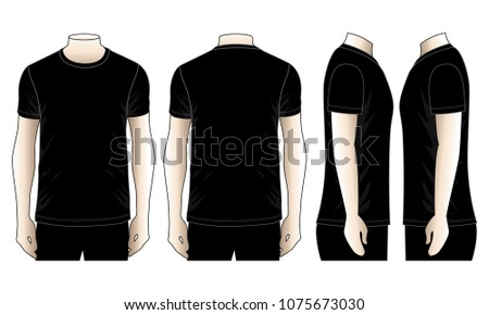 Set Mens Black T Shirt For Template FrontBack And Side Views