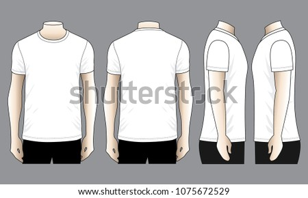 Set Men's White T Shirt for Template (Front,Back and side views)