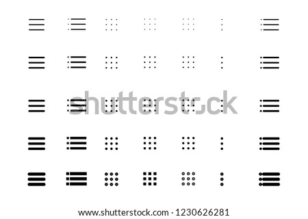 Set menu icon, Different variations in stroke thickness. Vector eps10