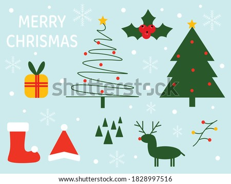 Set merry chrismas contains chrismas trees, holly, gifts, Santa Claus, Santa Claus hats, reindeer and decorations.