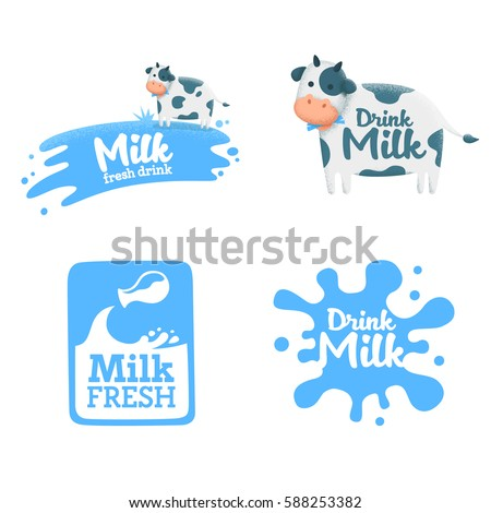 Set milk label, logo, emblem. Vector
