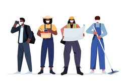 set mix race people of different occupations wearing masks to prevent coronavirus pandemic labor day celebration concept workers in uniform standing together full length horizontal vector illustration