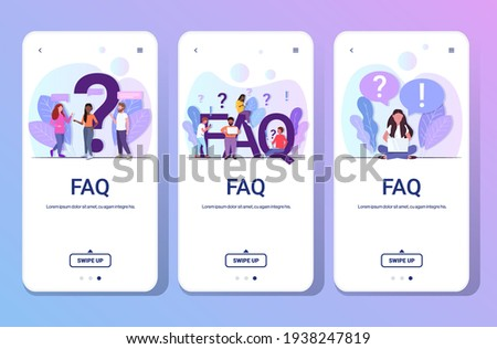 set mix race people with question exclamation marks using digital devices online support center frequently asked questions FAQ concept full length smartphone screens collection horizontal Сток-фото ©