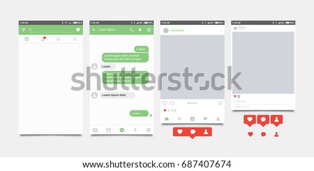 Set mobile application and Icon for social network. Notification icons flat vector illustration. #687407674