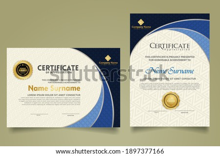 Set modern certificate template with realistic texture diamond shaped on the ornament and modern pattern background. size A4. vector illustrations