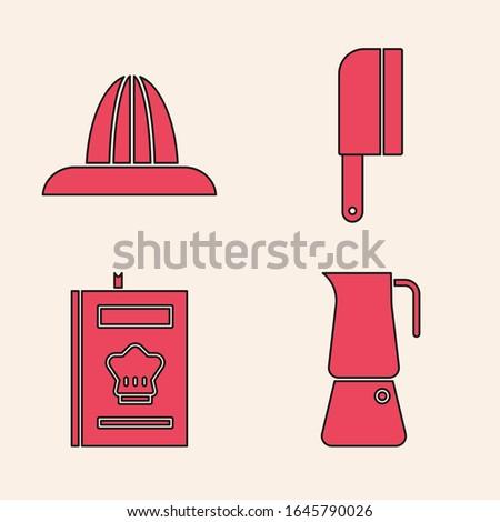 Set Moka pot, Citrus fruit juicer, Meat chopper and Cookbook icon. Vector