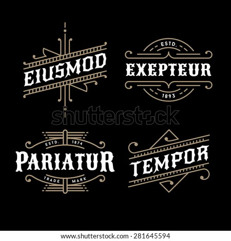 set monochrome art deco luxury antique gold hipster minimal geometric vintage linear vector frame , border , label  for your logo, badge or crest