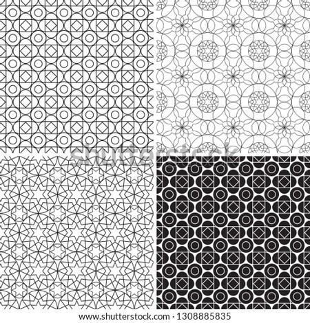 set monochrome geometric