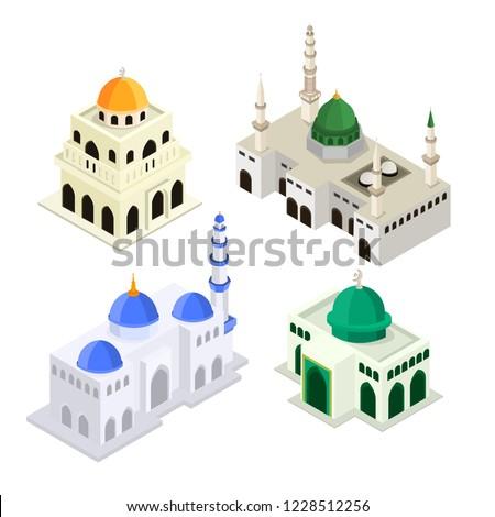 Set Mosque Islamic Worship Building Isometric Flat 3D Vector Illustration