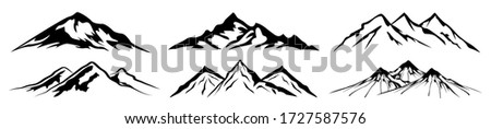 set mountain ridge with many