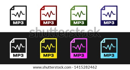 Set MP3 file document icon. Download mp3 button icon isolated on black and white background. Mp3 music format sign. MP3 file symbol. Vector Illustration