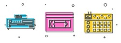 Set Music CD player, VHS video cassette tape and Drum machine icon. Vector