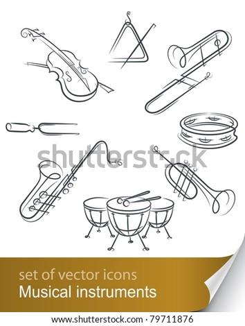 set musical instrument vector illustration isolated on white background