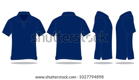Set navy blue polo shirt vector (Front,Back and Side views)