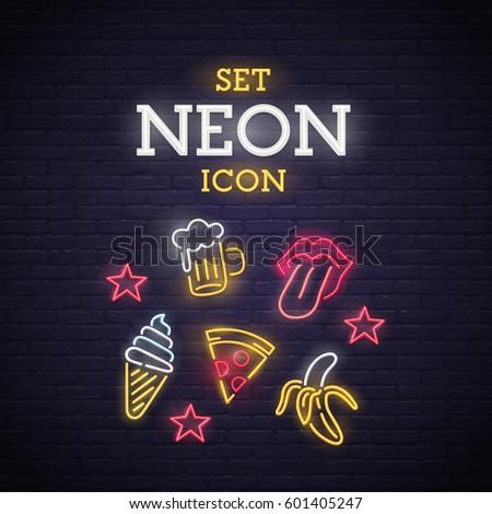 set neon icon neon sign