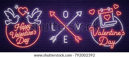 set neon logo  label  emblem
