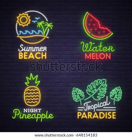 Set neon sign theme summer. bright signboard, light banner. Summer logo, emblem.
