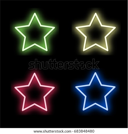 set 4 neon signs of the star