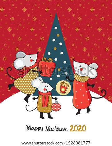 Set New year and Christmas greeting card in vector. Cute cartoon mouse next to the Christmas tree. Funny and happy new year mice red, gold and silver. Chinese symbol 2020 new year. Doodle. Hand drawn