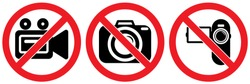 set no sign,camera or photo,record,video recording isolated on white background,warning label vector eps 10.