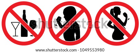 set no sign ,spirits, alcohol for pregnant woman , children drinking alcohols isolated on white background illustration vector eps10.