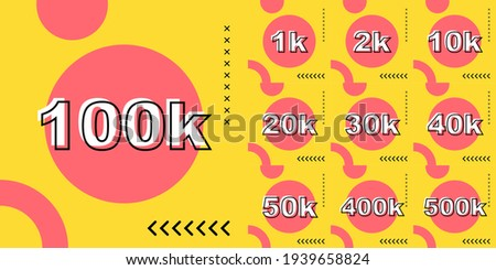 Set number of thank you followers Foto stock ©