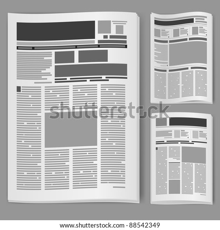 Set number two newspaper. Illustration on white background.