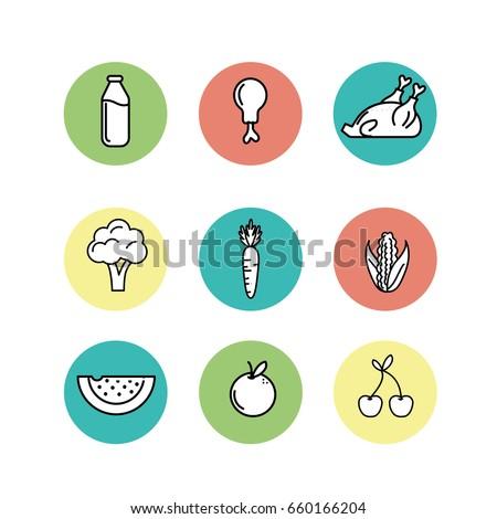 set nutrition vegetables and
