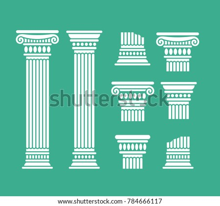 Set o antique columns and parts of columns. Greek and roman. Vector illustration, isolated