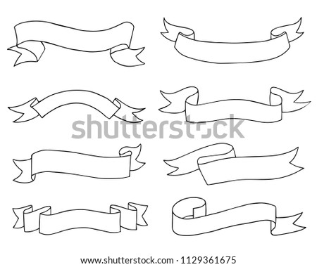 set od hand drawn doodle ribbon banners isolated on white background