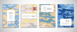 Set of A4 abstract grunge backgrounds. Colorful cover header design for flyer, book, info banner frame, title sheet. Colored brushstrokes. Modern design. Brochure template layout. Vector illustration