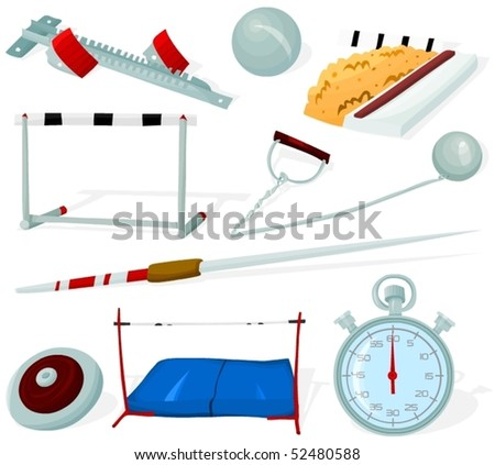 Set of a athletics tools and objects