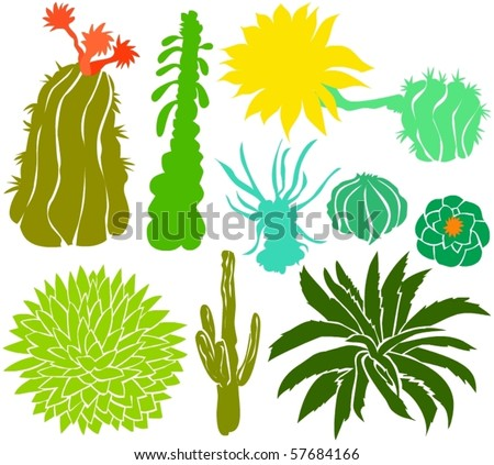 Set of a cactus silhouettes A