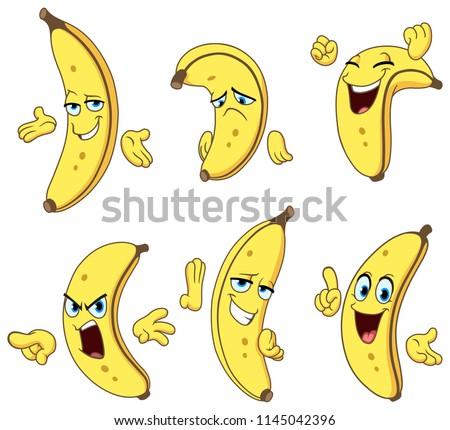 set of a cartoon banana