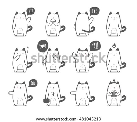 set of a cute cartoon cat in