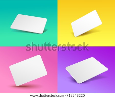 Set of a gift card template placeholder with a 3D effect. Vector illustration EPS 10. Isolated on a colored background