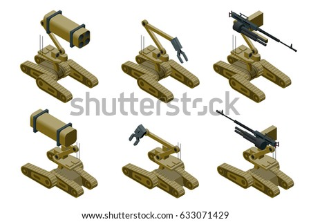 set of a military robots of