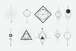 set of a minimalist geometric design elements tattoo. - hipster concept.
