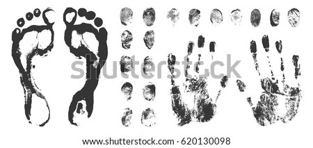 Set of a print a human finger handprint and footprint. Black ink fingerprints on white background in vector.
