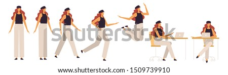 Set of a redhead woman in different poses. Female character for your design project, animation. Vector trendy illustration, flat style. White background, isolated. Girl walk, stand, run, jump, sit