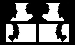 Set of a side view of human avatar face silhouette on black and white background. Side face shape of a man and woman profile with 4 act icon symbol including face to face, and overlay layer.