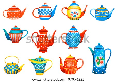 Set of a teapots on white background. Vector Illustration.