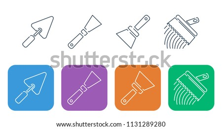 Set of a thin line of icons. Construction and repair, spatulas, trowel and trowel for tiles.