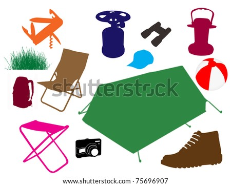 Set of a travel accessories, vector illustration - stock vector