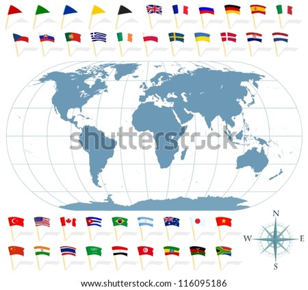 Set of a world map and various state flags